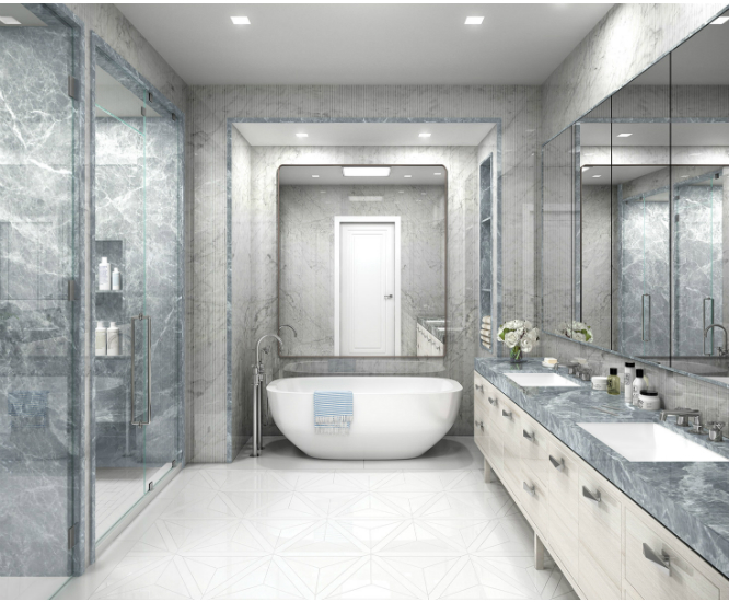 Smartly designed bathrooms for a luxury penthouse on fifth for Bathroom design miami