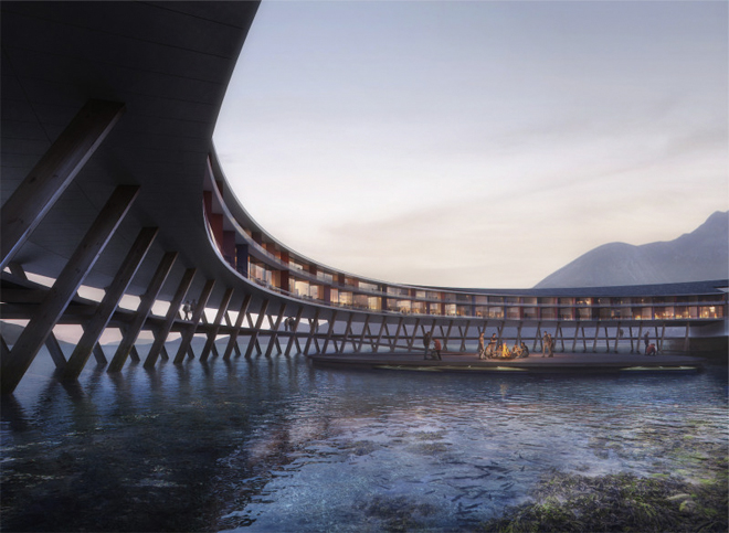 """Svart Powerhouse is inspired by local vernacular architecture in the form of the """"fiskehjell"""" (A-shaped wooden structure for drying fish)"""