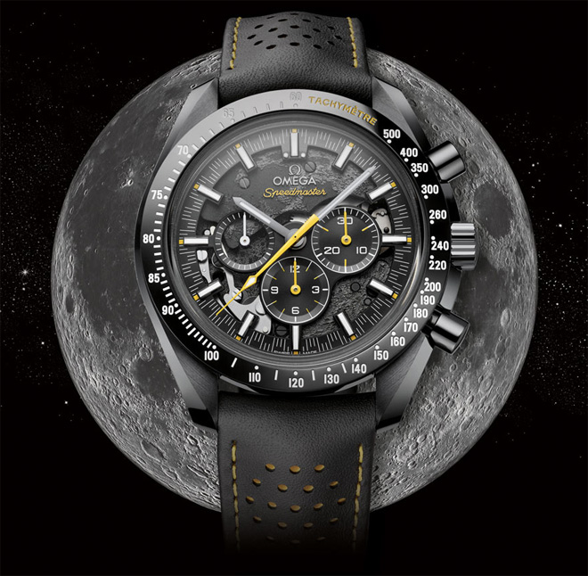 This Baselworld 2018 Omega Speedmaster Dark Side Of the Moon Apollo 8 houses a specially decorated version of OMEGA's famous Calibre 1861 Moonwatch movement.