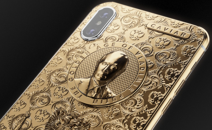 Caviar Phone had previously made a Vladimir Putin iPhone 6s in subtle titanium with gold accents. The new Vladimir Putin iPhone X is in 24k gold