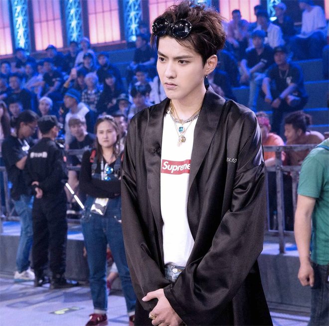 Kris Wu wearing Supreme on the first online episode of The Rap of China