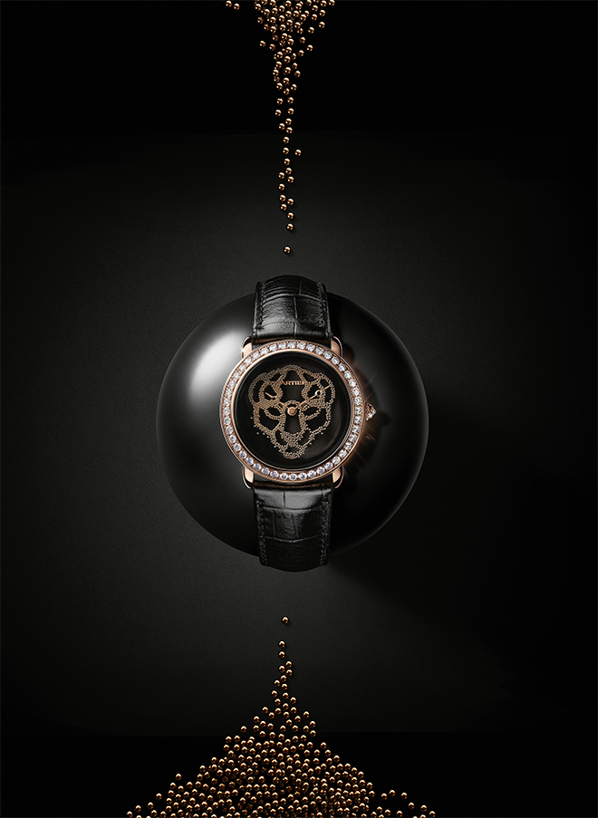 Cartier SIHH 2018 novelty: Cartier Revelation d'une Panthere, a ladies timepiece bearing 900 gold beads which descend to form the motif of the Cartier Panthere