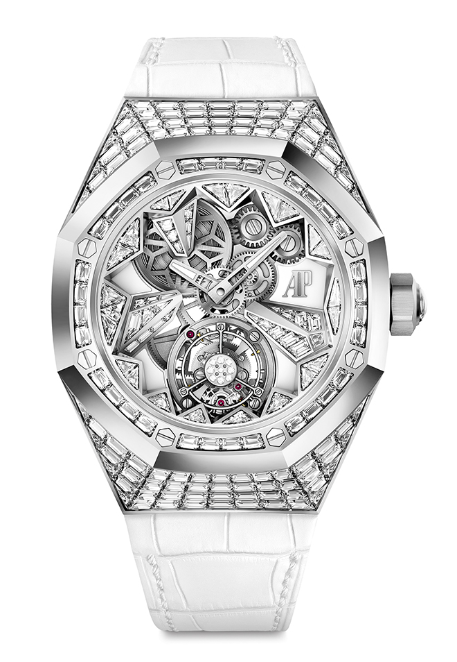 Audemars Piguet SIHH 2018 novelty, the Royal Oak Concept Flying Tourbillon, a jewelset creation of exquisite depth and femininity.