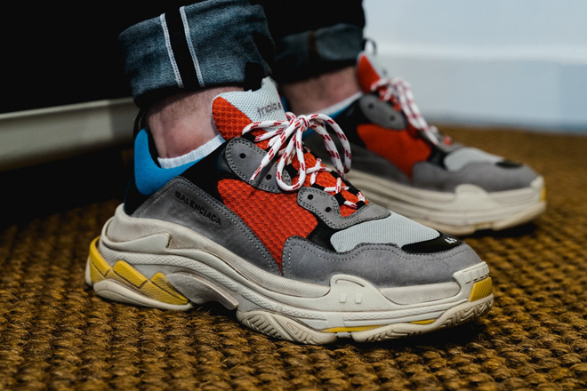 "Balenciaga's top-selling Triple S sneakers - total hautebeast and ""aged"" like one."
