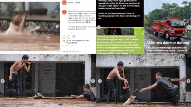 Viral video evakuasi anjing terjebak banjir, warga dan petugas Damkar dipuji (instagram @galaindiga dan @jktinfo)
