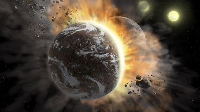 Ilustrasi dua asteroid tabrakan. [NASA]