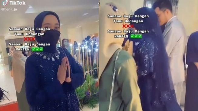 Viral baju pengantin sama dengan baju tamu di sebuah acara pernikahan. Netizen langsung bergemuruh dan ketawa.