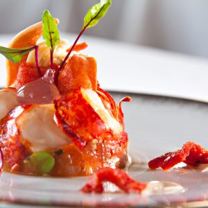 Curate @ RWS Lobster served warm, melting rhubarb, tomato with ginger