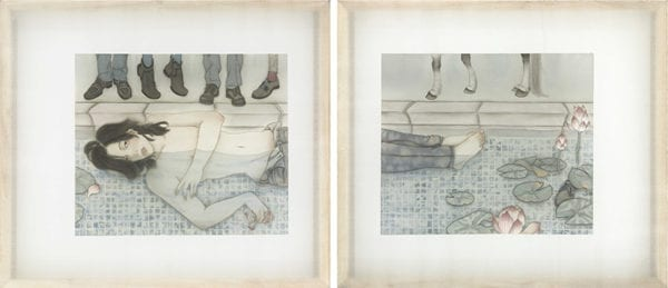 Artify Gallery Wong Xiang Yi Tranquil 2013 Ink on Chinese Silk 70x80cm each (2pcs) SGD6,380