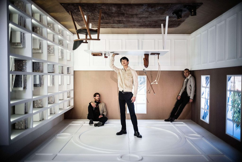 "Hermès stages ""Men Upside Down"" Exhibition at Kai Tak, Hong Kong"