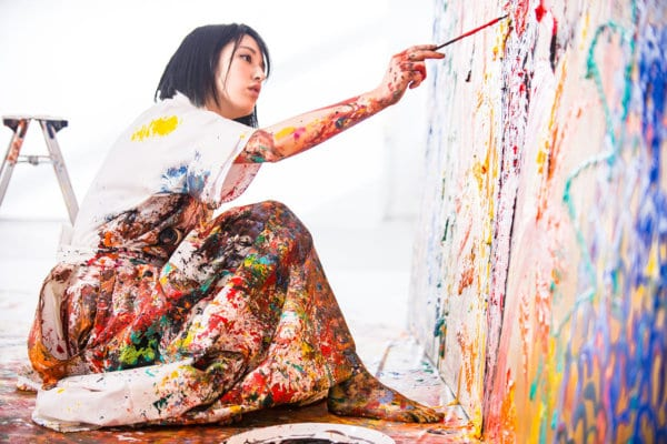 1.	Image of Miwa Komatsu Live Painting. Image courtesy Whitestone Gallery.