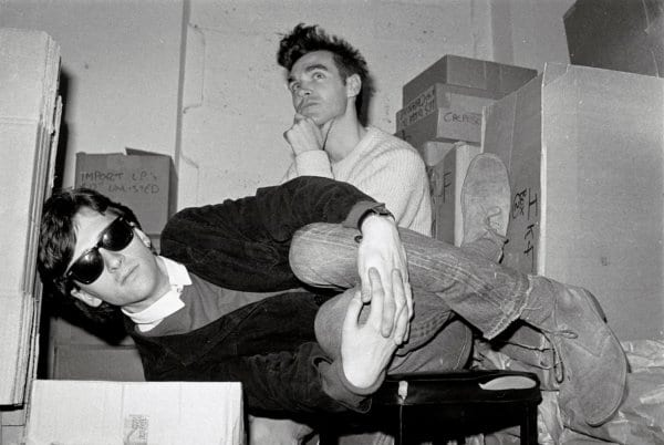 LONDON - 1st JANUARY: Johnny Marr (left) and Morrissey from The Smiths pose together in the store room of Rough Trade records in London in 1983. (Photo by Clare Muller/Redferns)