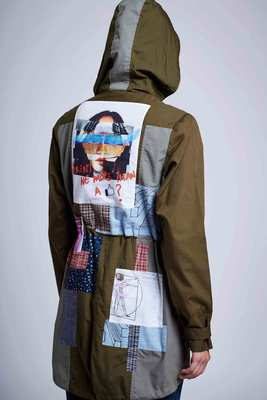 Doodlage, Panelled military green jacket with the patch work & slogans. Image Courtesy of Doodlage Retail LLP.