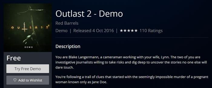 【斷J斬】《OUTLAST 2》試玩版歐洲PS Store搶先上架!