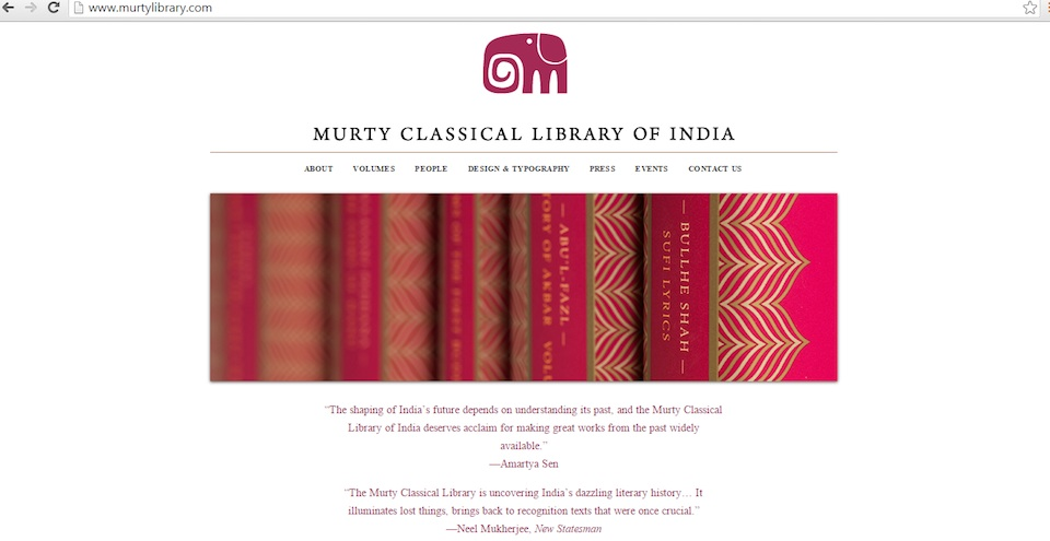 A screenshot of the Murty Classical Library of India website.