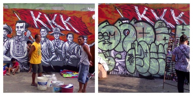 There is a certain nobleness to graffiti art as it carries a temporary quality along with the fast-paced changes happening in urban areas. Left, a 2012 Gerilya mural depicting Andres Bonifacio and the Katipunan, and at right, the mural defaced in 2013. Photos by Bernard Testa, InterAksyon.com.