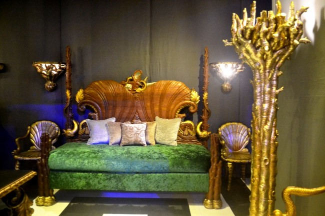 Furniture with detailed wood carvings by Pampanga-based JB Woodcraft Inc. Photo by Romsanne Ortiguero, InterAksyon.com.