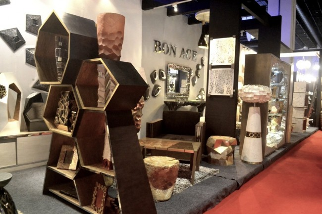 Bon-Ace's collection consists of furniture in geometric patterns and gold motif. Photo by Romsanne Ortiguero, InterAksyon.com.