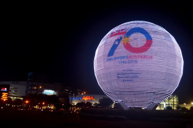 The iconic globe at SM Mall of Asia bears the 70th Anniversary Philippines-Australia Friendship logo. A  commemorative lighting  ceremony was organized by the Australian Embassy in partnership with SM Supermalls on May 21, 2016. Photo by Romsanne Ortiguero, InterAksyon.com.