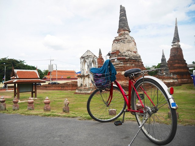 The author's bike parked at the famous ruins of Ayutthaya. The ruins reflect the once glorious capital of Siam. Photo by Jona Branzuela Bering, InterAksyon.com.