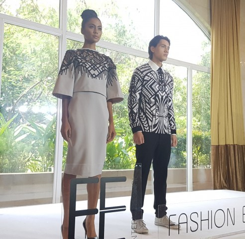 Models present clothes by designer Fashion Libiran at the press preview of Fashion Exchange International's event slated at the Marriott Grand Ballroom on July , 2016. Photo courtesy of FEI.