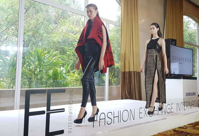 Models present clothes by Indonesian fashion designer Tex Saverio at the press preview of Fashion Exchange International slated at the Marriott Grand Ballroom on July 7, 2016. Photo courtesy of FEI.