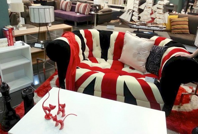 From quirky to charming, to this Union Jack-inspired couch, there's an SB Furniture to match your design preference. Photo by Francine M. Marquez, InterAksyon.com.