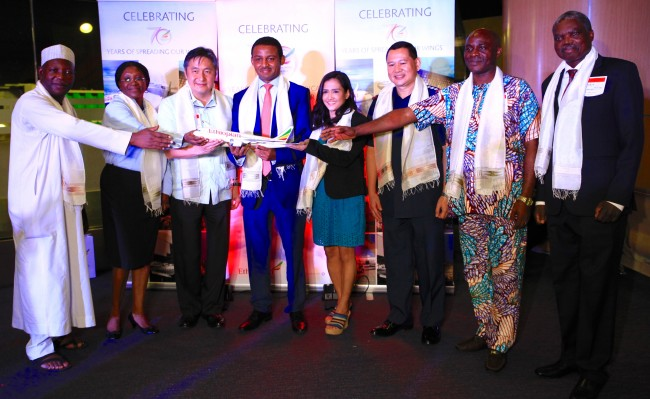 On Monday, August 1, 2016, diplomats, airport officials, and Ethopian Airline executives graced the launch of Ethiopian Airlines' Boeing B787 Dreamliner for its Manila Addis Ababa route. From left, Silas Sylvester Anche, Minister of Nigerian Embassy; Hannatu Dankaro-Irimaya, Nigerian Embassy; Undersecretary Roberto Lim, DOTr; Solomon Bekele, Country Manager-Ethiopian Airlines; Asst. Secretary Malou Japson, DOT; Col. Ma OR Aplasca, Chief, AVSEGROUP; Duru Christian Mahakwem, Nigerian Embassy; and Fernando Miguel, Minister of Angolan Embassy. Photo by Bernard Testa, InterAksyon.