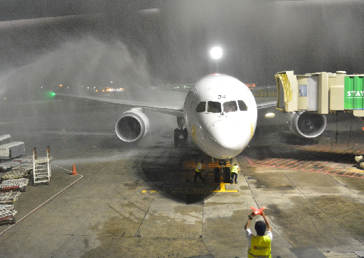 The first flight of Ethiopian Airlines' newest aircraft Dreamliner 787 to Manila was welcomed with a water cannon salute. Photo by Bernard Testa, Inter Aksyon.