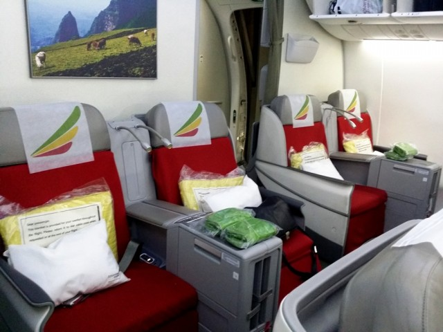 Ethipian Airlines' Dreamliner 787 features a 124-degree lie-flat recline seat for the utmost comfort of passengers. Photo by Romsanne Ortiguero, InterAksyon.com.