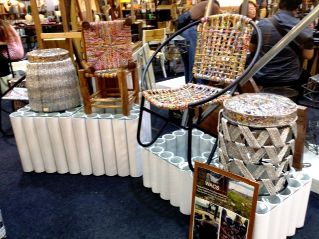 Chairs made from recycled tetra packs, and chip bags.  Photo by Romsanne Ortiguero, InterAksyon.