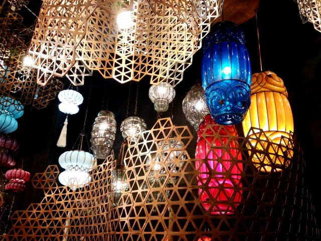 Lamps made from recycled ketchup bottles by Acento.  Photo by Romsanne Ortiguero, InterAksyon,