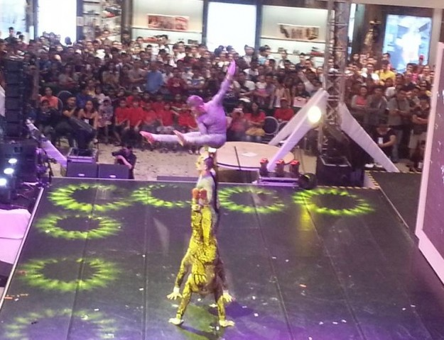 "Acrobats at the ""Sky of Snow"" show at SM Megamall's Mega Fashion Hall, Free shows are scheduled on November 5 and 6, 2016. Photo by Francine M. Marquez, InterAksyon."