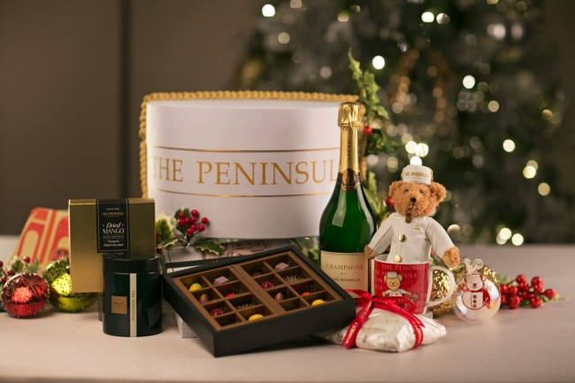 The Peninsula Manila offers a variety of Christmas hampers to give away to loved ones and friends this season. Photo courtesy of The Peninsula Manila.