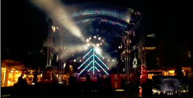Filipina lighting designer Shakira Villa-Symes designed Bonifacio Global City's Epic light show. The presentation features state-of-the-art automatic lighting. Photo source: Screen shot from video/Shakira Villa-Symes.