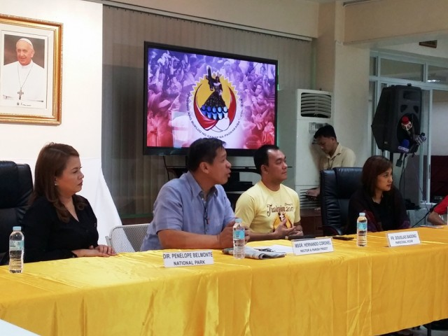From left: Director Penelope Belmonte of the National Parks Development Committee; Quiapo Church rector and parish priest Msgr. Hernando Coronel; Quiapo Church parochial vicar Fr. Douglas Badong, and Manila Tourism and Cultural Affairs Bureau Flordeliza Villasenor during the Traslacion 2017 press conference held Jan. 2 at Quiapo Church. Photo by Romsanne Ortiguero, InterAksyon.
