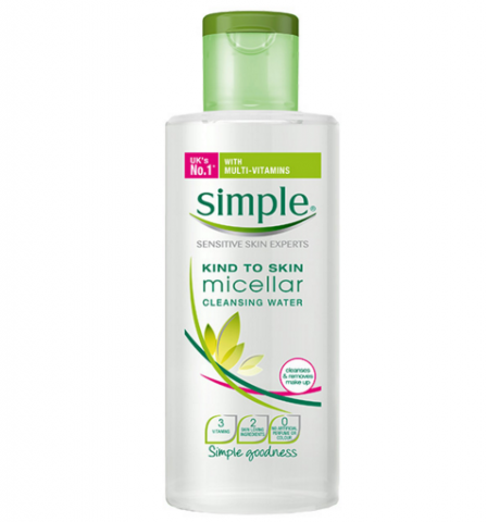 Simple Micellar Cleansing Water. Photo source: www.simple.co.uk