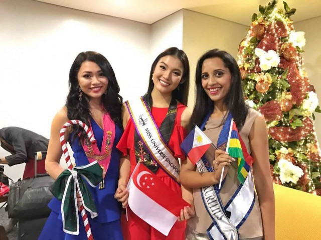 Miss Universe12 Miss Finland Shirly Karvinen, Miss Singapore Cheryl Chou, and Miss Mauritius Kushboo Ramnawaj. The ladies arrived in Manila on January 12, 2017. DOT photo.