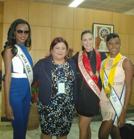 DOT Undersecretary Katherine de Castro with Miss USA, Miss Canada Siera  Bearchell, and Miss British Virgin Islands Erika Creque upon arrival at the NAIA Terminal 2 today, January 12, 2017. DOT photo.