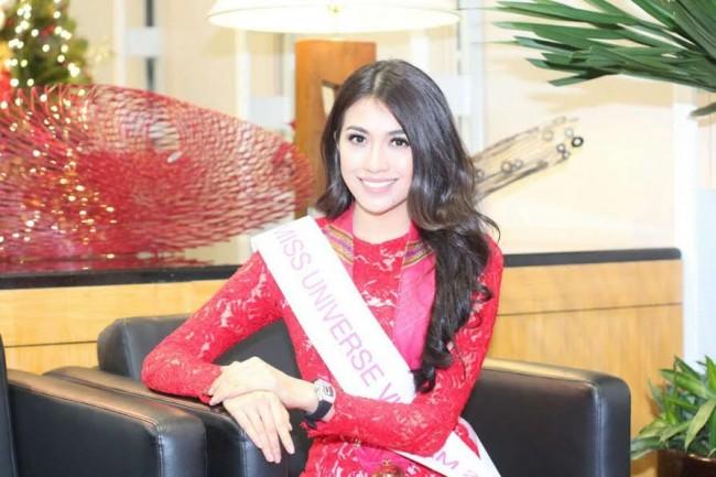 Miss Vietnam Dang Thi Le Hang also arrived today, January 12, 2017, at 1 p.m. at NAIA Terminal 2. DOT photo.