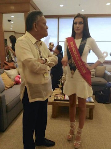 NAIA General Manager Eddie Monreal was also on hand to receive Miss Belgium Stephanie Geldhof, who arrived just now at the  Terminal 1. DOT photo.