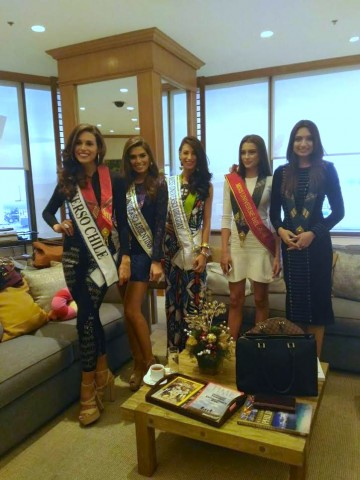 Miss India and Miss Belgium join Miss Chile Catalina Paz Caceres, Miss Argentina Estefania Bernal, and Miss Uruguay Magdalena Cohendent. The candidates arrived from separate flights on Thursday, January 12, at NAIA Terminal 1. DOT photo.
