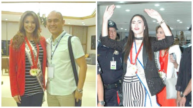 Miss Costa Rica Carolina Duran (left) and Miss Nicaragua Marina Jacoby (right) arrive at NAIA Terminal 1 early morning of Thursday, January 12, 2017. Both women were welcomed by swere both welcomed by DOT Director for Legal Service  Merito Lovensky Fernandez (shown here with Miss Costa Rica). Photo courtesy of DOT.