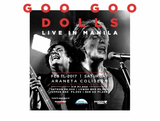Don't miss out American rock band Goo Goo Dolls in their live concert in Manila. Image sourced from Ticketnet's website.