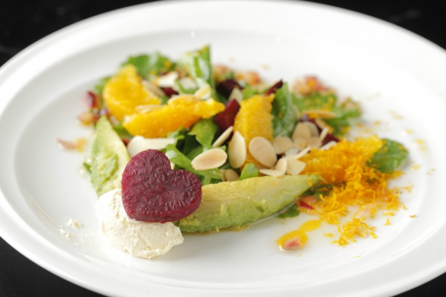 Orange-scented Goat Cheese Salad, available at The Terrace at Maxims Hotel. Photo courtesy of Resorts World Manila.