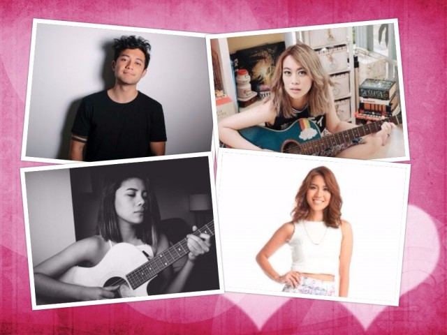 At the Shang mall on February 12 and 14, listen to romantic songs by (clockwise from topmost left) Gio Levy, Reese Lansangan, Aicelle Santos, and Keiko Necessario. Photo courtesy of Shangri-La Plaza.