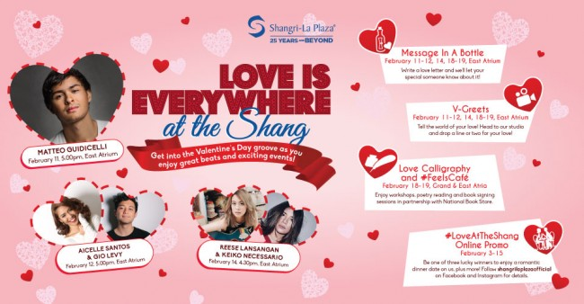 Be serenaded by pop artists and shop for some Valentine souvenirs at the mall's love fair. Image sourced from  Shangri-La Plaza's Facebook page.