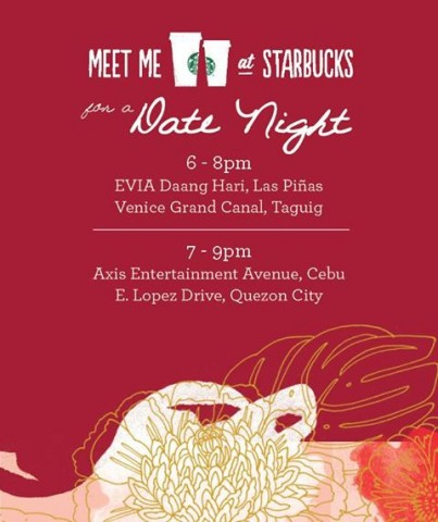 Celebrate Valentines Day over good coffee and live music at Starbucks. Image sourced from Starbucks Philippines' Facebook page.