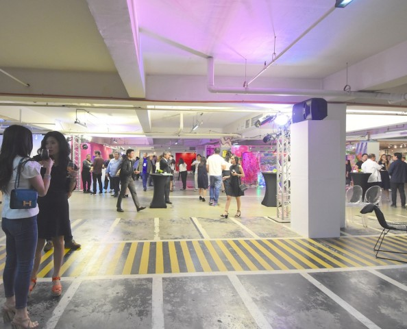 Guests attend a preview of Art Fair Philippines 2017 at The Link car park in Makati City on Wednesday night, February 15, 2017. Photo by Peter C. Marquez, InterAksyon.