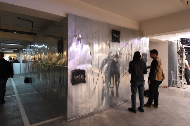 'Wall of Sound,' is one of the interactive works in 'All Watched Over by Machines of Loving Grace,' an exhibit by the sound artists of WSK. The exhibit is on show at Art Fair Philippines, February 16 to 19, 2017. Photo by Peter C. Marquez, InterAksyon.